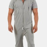Mens Hoody Cotton Plain Pajamas Jumpsuit Zip Comfortable Short Sleeve Loungewear Home Sleepwear
