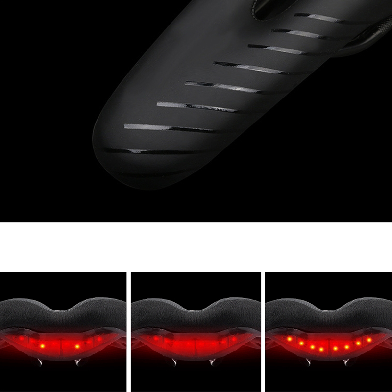 WEST BIKING Bike Saddles With 3 Modes Safety Taillight Outdoor Breathable Shockproof Waterproof Cycling Saddle Bike Seat Bike Cushion