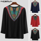 Men's African Print V-Neck Casual T-Shirts Long Sleeve Dashiki Party Shirts Tops