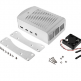 Sliver Aluminum Alloy Case with Cooling Fan Protective Shell Metal Enclosure fit for Raspberry Pi 4 Model B