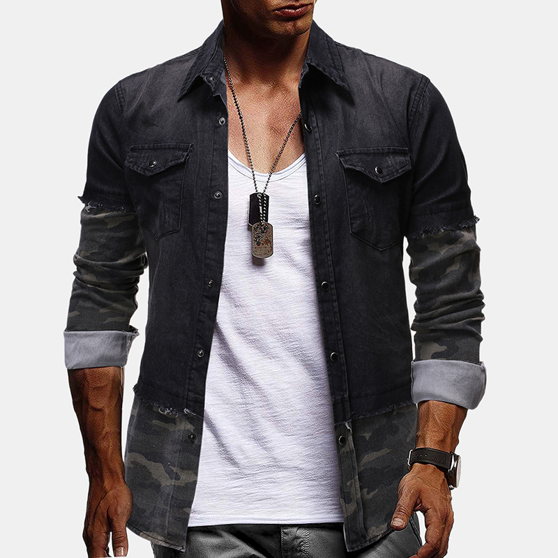 Mens Vintage Denim Patchwork Long Sleeve Casual Shirts