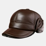 Trapper Hat Men's Thick Warm Outdoor Earmuffs Cotton Hat Leather Hat Baseball Cap