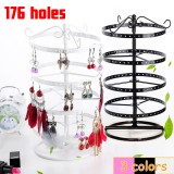 176 Holes Rotating Earring Iron Stands Ring Display Jewelry Rack Holder Tools Kit