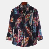 Mens Colorful Feather Printing Ethnic Style Long Sleeve Loose Casual Shirts