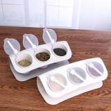 3 Grids Seasoning Bottle Box Condiment Kitchen Storage Container Herb Spice With Spoon