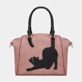 Women Faux Leather Fashion Large Capacity Cat Bag Handbag