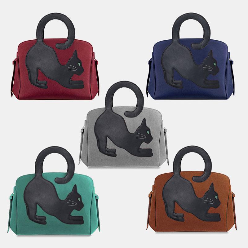 Women Fashion Beauty Faux Leather Large Capacity Handbag Crossbody Bag Shoulder Bag Cat Bag
