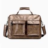 Men Business Bag PU Leather Laptop Bag Travel Handbag Shoulder Messenger Tote
