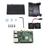 4GB RAM Raspberry Pi 4 model B Mainboard With Black/Sliver/Gold Aluminum CNC Alloy Protective Case & Double Cooling Fan