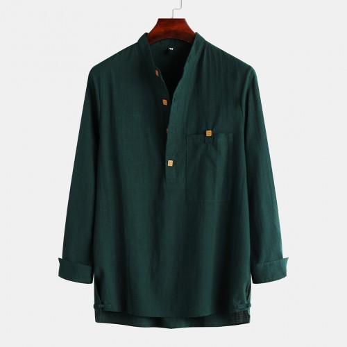 Mens Vintage Henley Collar Buttons Long Sleeve Casual T-Shirts