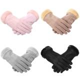 Women Gloves Velvet Keep Warm Touch Screen Windproof Winter Wool Mittens Glove