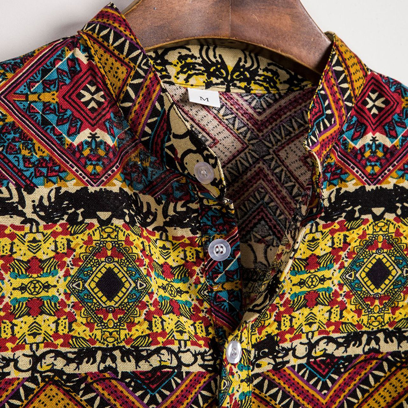 Mens Ethnic Style Printing Slim Fit Short Sleeve Summer Casual Henley Shirts