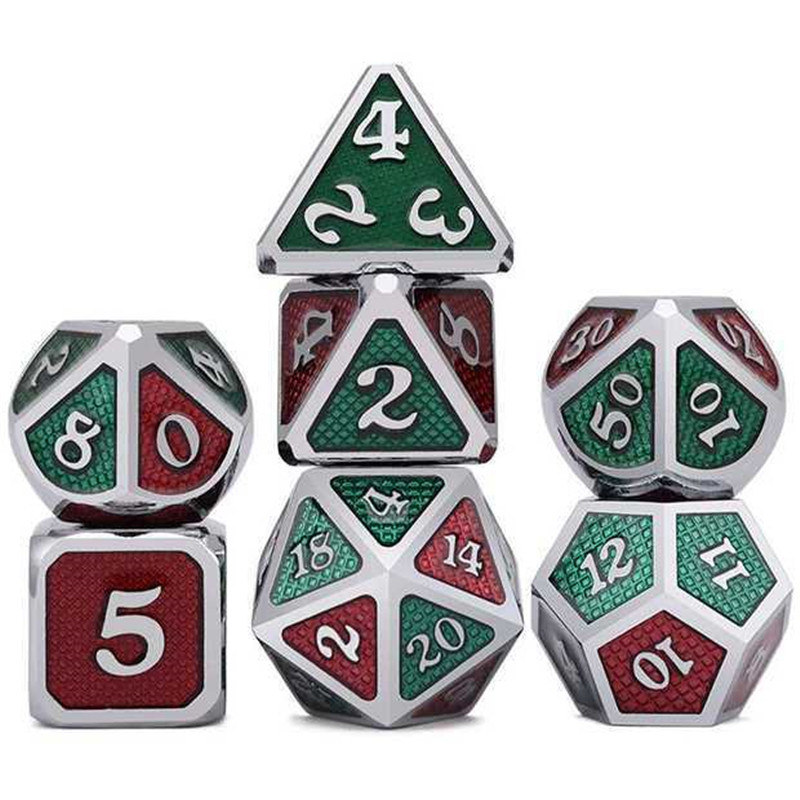 Polyhedral Dices Metal Dice Set Role Playing Dragon Table Game With Cloth Bag Bar Party Game Dice