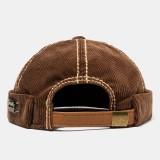 Mens Brown Corduroy Adjustable Solid French Brimless Hats Vogue Retro Skullcap Sailor Cap