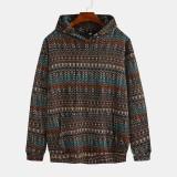 Mens Fashion Hooded Printing Drawstring Long Sleeve Casual Sweatshirt