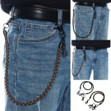 PU Leather Punk Biker Keychain Motorcycle Key Jeans Wallet Belt Chain Hip-hop Jewelry