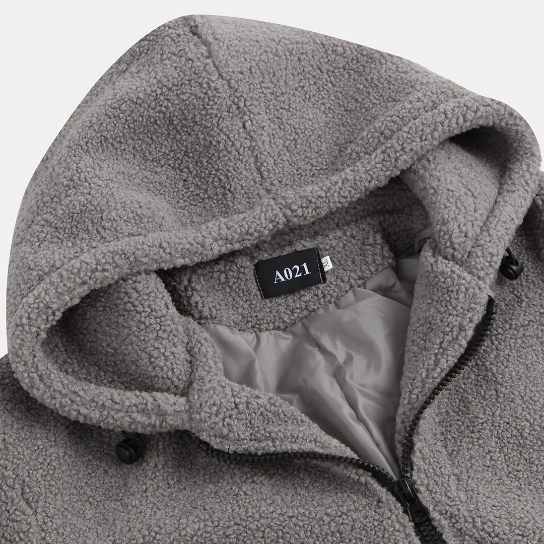 Mens Fleece Double Pockets Zipper Hooded Solid Color Casual Coats