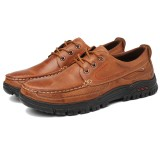 Men Soft Pure Color Leather Casual Business Office Oxfords