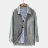 Vintage Corduroy Double Pockets Mens Long Sleeve Casual Coats