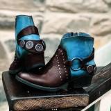 Women Plus Size Retro Stitching Belt Decoration Chunky Heel Ankle Short Boots
