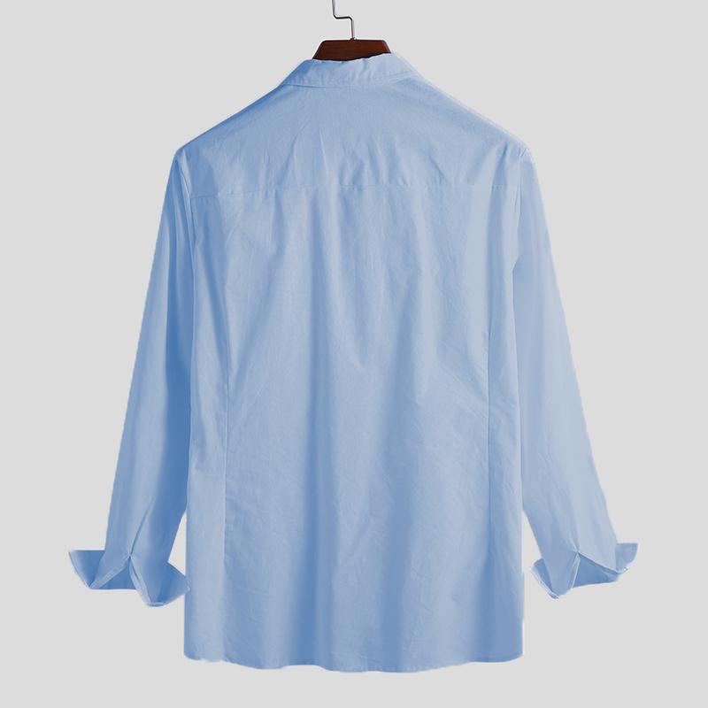 Men's Autumn Thin Button Shirts Long Sleeve Lightweight Casual Leisure Tops Tees