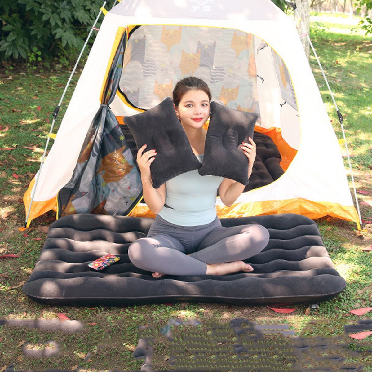 Car Inflatable Mat Outdoor Traveling Air Mattresses Camping Folding Sleeping Bed with Pillows and Pump