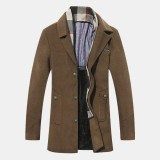 Mens Scarf Detachable Stand Collar Buttons Thickened Coats Warm Casual Jacket