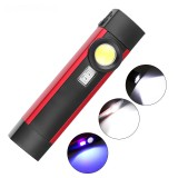 XANES WL01 Work Light XPE+COB LED+395 Purle 4 Modes USB Rechargeable Outdoor Multifunctional Flashlight Emergency Light Camping Light with Magnet