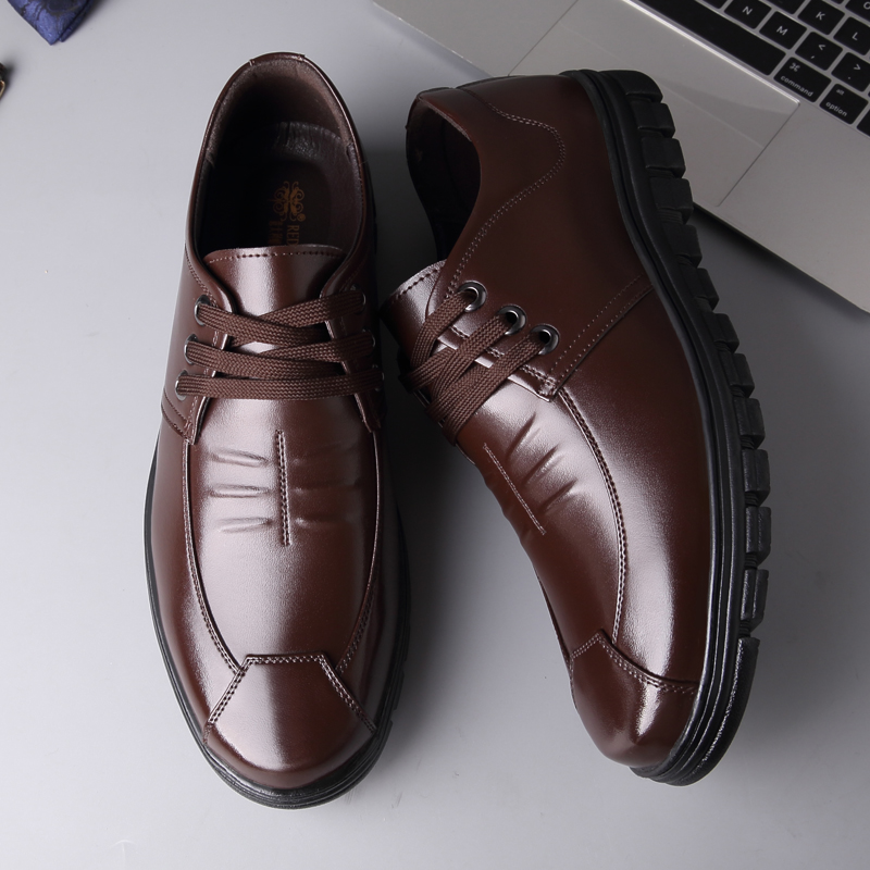 Men Pure Color Comfy Soft Sole Lace Up Casual Cow Leather Oxfords