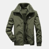 Mens Casual Barber Fleece Turn Down Collar Thickened Warm Casual Jacket