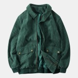 Mens Double Big Pockets Corduroy Casual Zipper Single Breasted Thickened Jacket