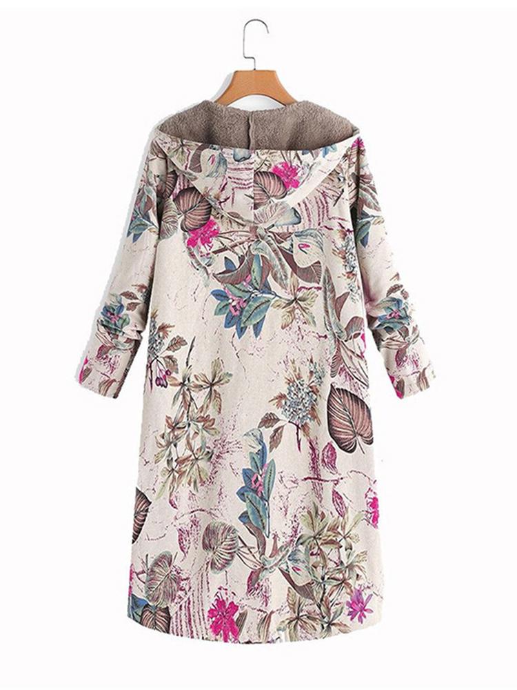 Women Leaves Print Long Sleeve Hooded Fleece Maxi Coats Jacket