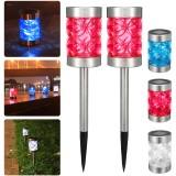 2pcs Solar Power Outdoor Path Light Spot Lamp Yard Garden Lawn Landscape Lamps