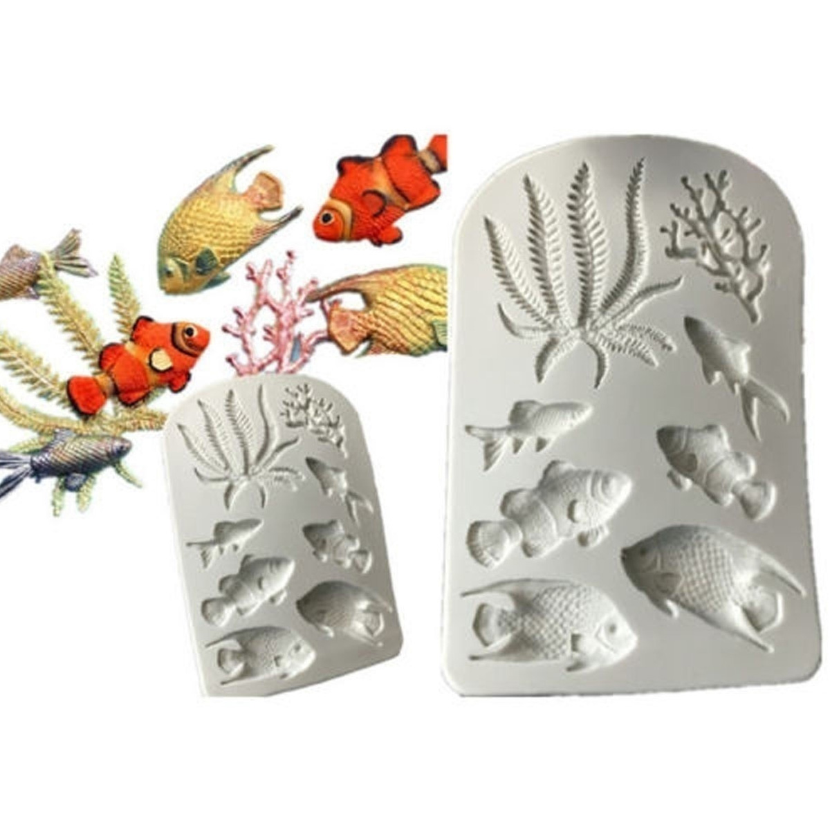 3D Sea Coral Fish Silicone Mold Fondant Mold Cake Decorating Tools Mould