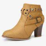 Large Size Women Fashion Suede Rivet Zipper High Chunky Heel Short Ankle Boots