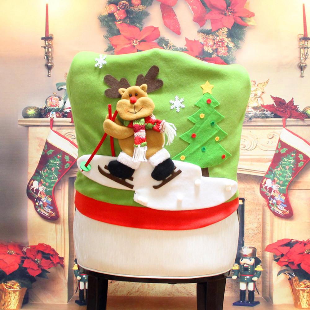 Loskii Christmas Chair Cover Cartoon Christmas Santa Claus Chair Back Cover Snowman Elk Ski Dinner Table Party Decorations
