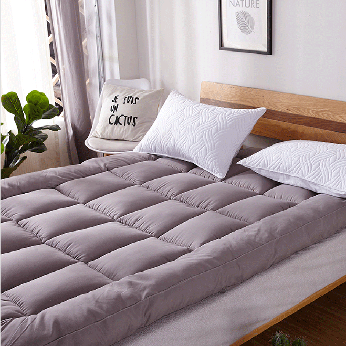 1.5M/1.8M Quilted Embossed Waterproof Mattress Protector Pad Ultra Soft Additional Pad for Bed