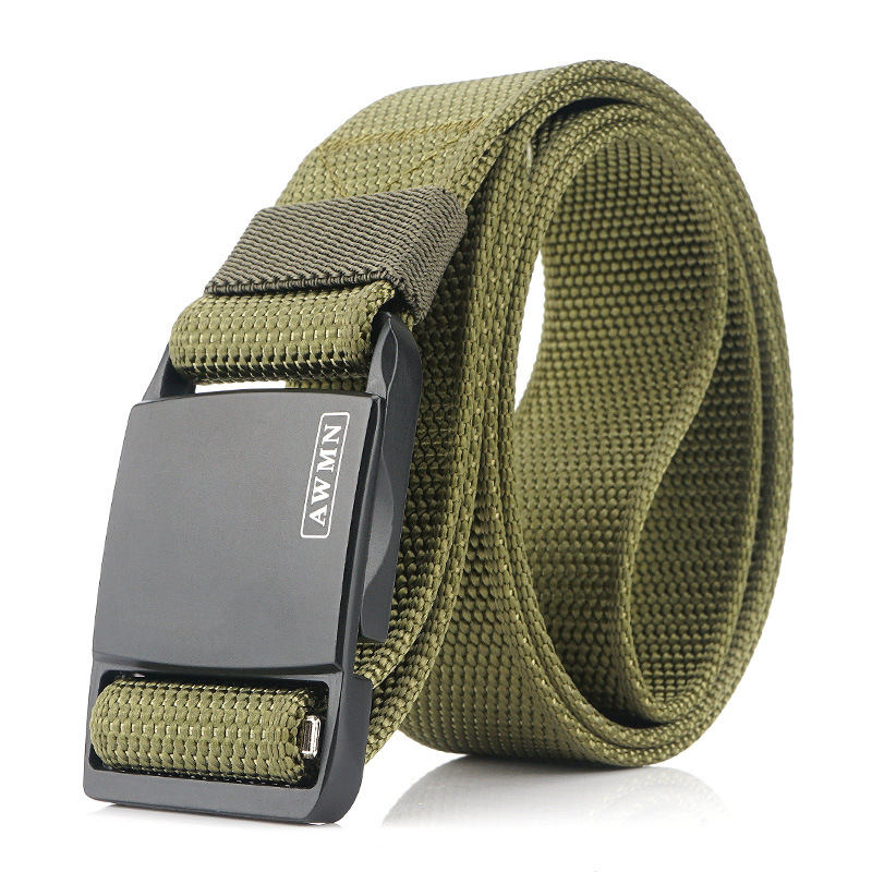 AWMN 125cmx3.8cm Military Tactical Belt Outdoor Zinc Alloy Magnetic Buckle Casual Belts Canvas Waist Belts