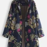 Women Long Sleeve Floral Print Zipper Coats Casual Cotton Fleece Jackets