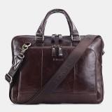 Men Genuine Leather Large Capacity Handbag Business Bag 14-inch ComputerMesssenger Bag