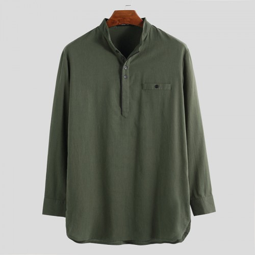 Mens Vintage Stand Collar Pocket Long Sleeve Casual T-Shirts