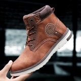 Men Non-Slip Wear Resistant Casual Outdoor Hiking Waterproof Leather Ankle Boots
