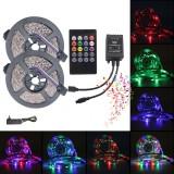 5M 10M 3528 RGB Music Sync Voice Control LED Strip Light + 22Keys IR Remote Control Or 3A EU US Power Adapter