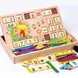 Wooden Clock Number Mathematics Toys Kids Early Learning Math Educational Toys Gift Blackboard Chalk Arithmetic Board