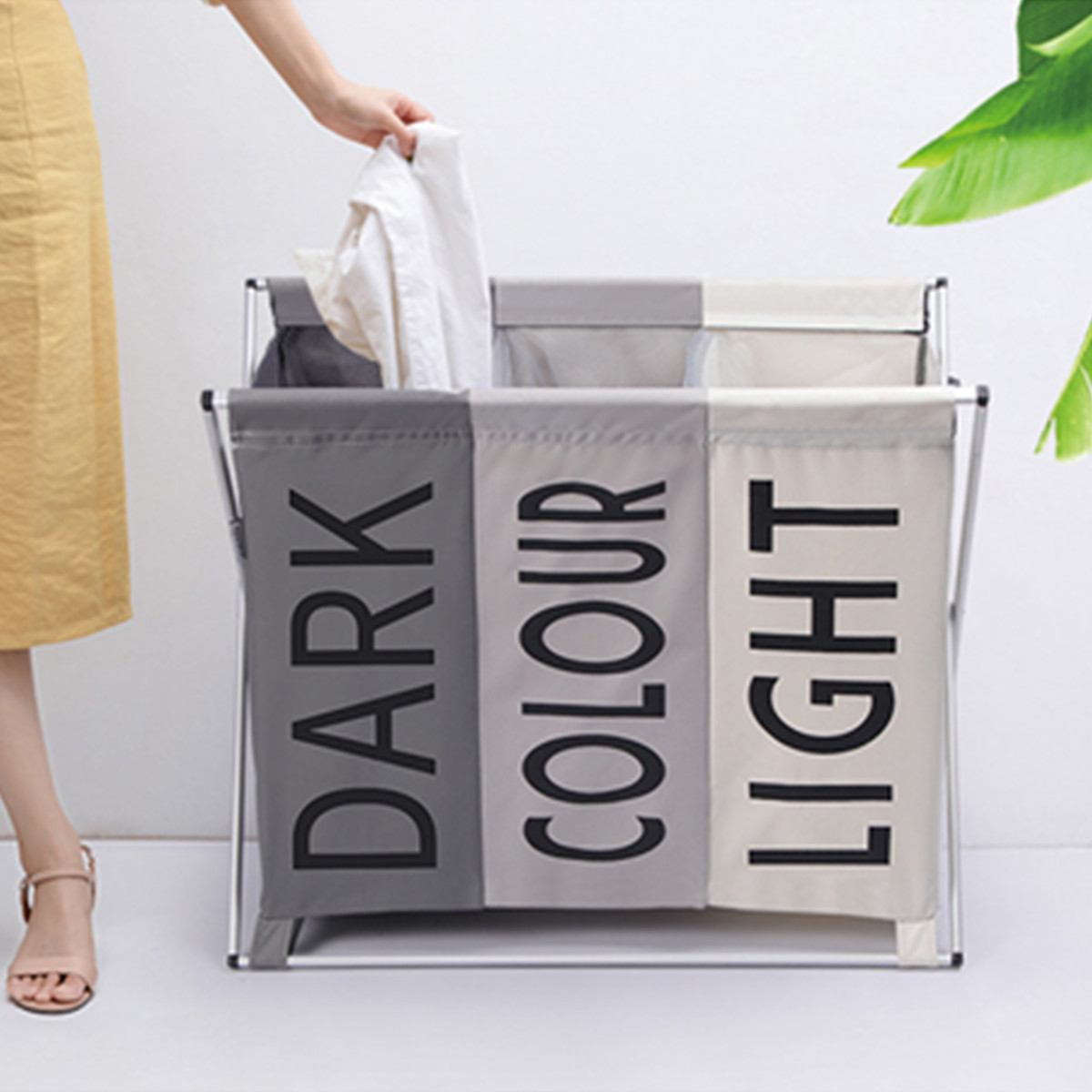 X-shape Foldable Dirty Laundry Basket Organizer Collapsible 3 Grids Home Laundry Hamper Sorter Waterproof Laundry Storage Baskets