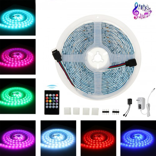 5M DC12V 5050 Dimmable Music Control RGB LED Strip Light TV Backlighting+20Keys Remote Control for Home Decor