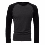 Mens Casual Slim Shirt Crew Neck Raglan Baseball Long Sleeve T-shirt Sports Tops