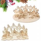 Loskii JM01692 DIY Christmas Wooden Toy Xmas Funny Party Desktop Decorations Christmas Wooden Ornaments
