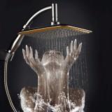 9 Inch Square Angle Bathroom Rainfall Pressurize Wall Mount Top Rainfall Shower Head