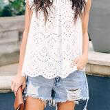 S-2XL Womens Sleeveless Summer Tank Tops Lace Detail Shirt